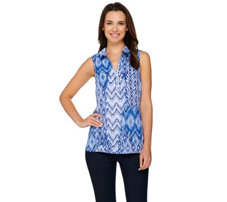 """As Is"" Susan Graver Artisan Embellished Woven Sleeveless Top"