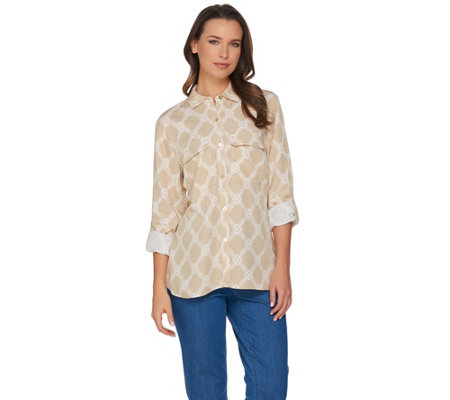 "C. Wonder Bamboo Print Button Front ""Carrie"" Blouse"