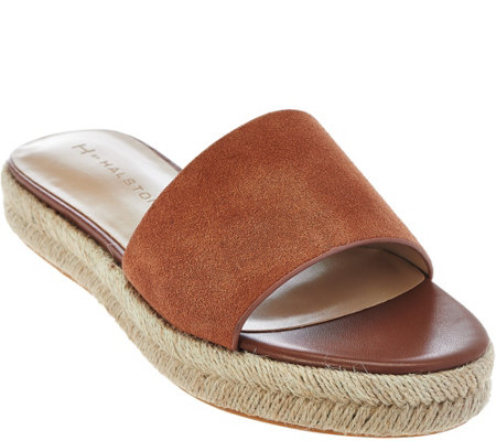 """As Is"" H by Halston Suede Flat Espadrille Slide - Norma"