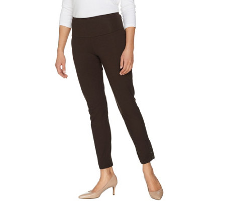 Women with Control Petite Tummy Control Ankle Pants w/ Button Detail