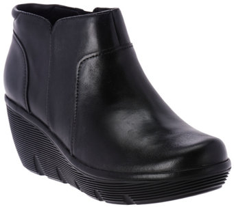 """As Is"" Clarks Artisan Leather Wedge Ankle Boots - Clarene Sun - A289864"