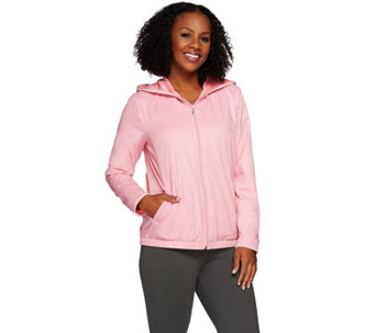 """As Is"" Denim & Co. Active Zip Front Jacket with Fleece Lining - A290464"
