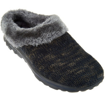 """As Is"" Skechers GOWalk Sweater Knit Faux Fur Clogs-Revamped - A293064"