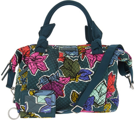 Vera Bradley Signature Print Hadley Satchel Handbag with RFID ID Case