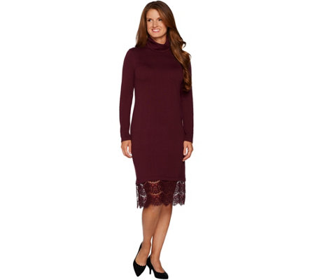 Isaac Mizrahi Live! Turtleneck Sweater Dress with Lace Hem