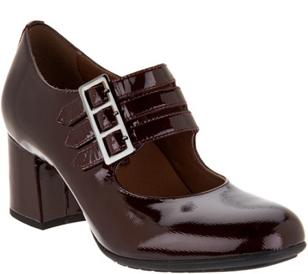 Earthies Patent Leather Triple Strap Mary Janes - Fortuna