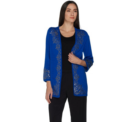 Bob Mackie's 3/4 Sleeve Open Front Cardigan with Sequin Detail