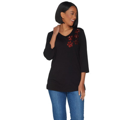 Quacker Factory 3/4 Sleeve Sequin Paw Print Knit Top