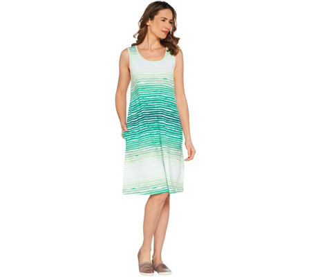 Denim & Co. Sleeveless Watercolor Stripe Dress with Pockets