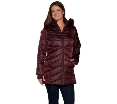 """As Is"" Isaac Mizrahi Live! Quilted Puffer Coat with Faux Fur Hood"