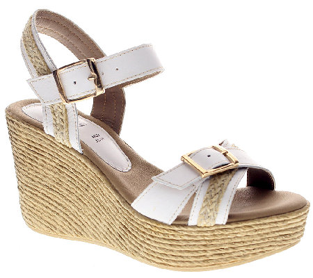 Azura by Spring Step Leather Wedge  Sandals - Frappe