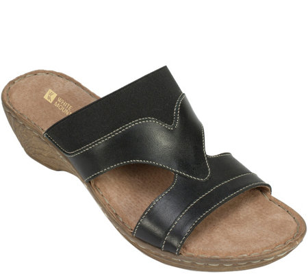 White Mountain Leather Slide Sandals - Verna