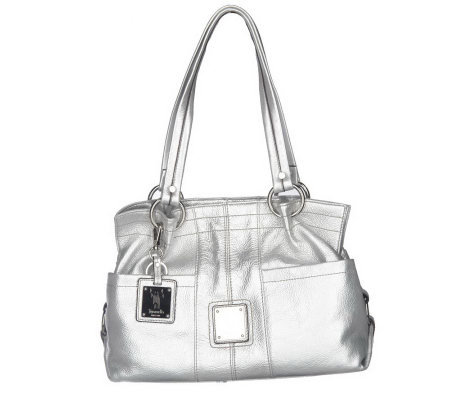 Tignanello Pebble Leather Handbag Tote with Front Pockets