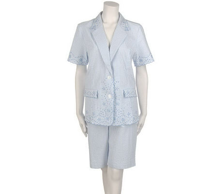 Susan Graver Stretch Seersucker Eyelet Jacket & City Shorts
