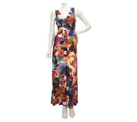 Motto Petite Floral Printed Crossover Front Maxi Dress