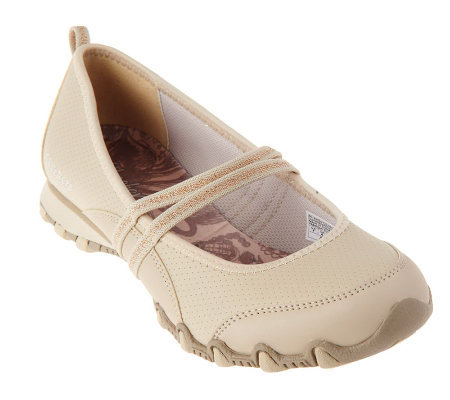 Skechers Leather Double Strap Mary Janes