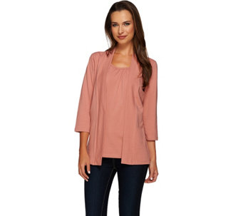 Denim & Co. 3/4 Sleeve Duet Cardigan with Inset Tank - A226265