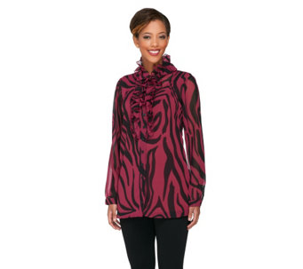 Dennis Basso Abstract Print Chiffon Tunic with Ruffle Placket & Cami - A228365