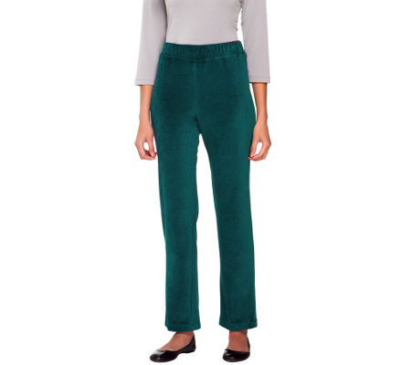 Susan Graver Regular Velour Straight Leg Pull-on Pants
