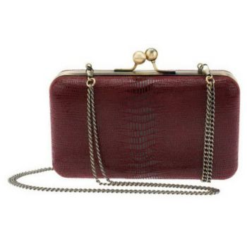 Nicole Richie Collection Lizard Embossed Leather Framed Clutch