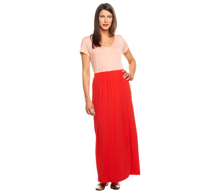 Isaac Mizrahi Live! Petite Color-block KnitMaxi Dress
