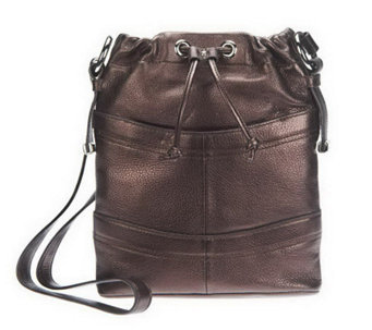 """As Is"" B. Makowsky Pebble Embossed Leather Crossbody Bag - A236165"