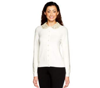 Status by Star Jones Cardigan with Embellished Collar - A237765