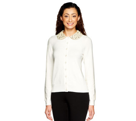 Status by Star Jones Cardigan with Embellished Collar