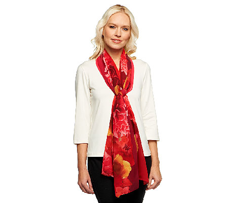 Isaac Mizrahi Live! Photo Real Floral Printed Scarf