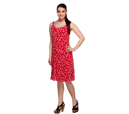 Susan Graver Liquid Knit Printed Dress with Beaded Neckline