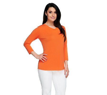 Susan Graver Essentials Liquid Knit V-Neck Top with 3/4 Sleeves