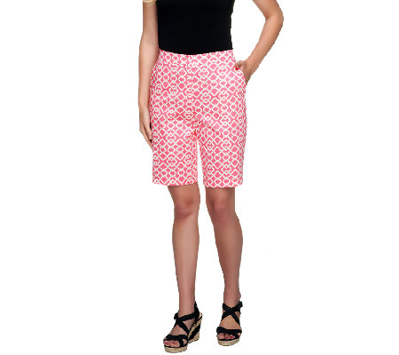 Susan Graver Printed Cotton Sateen Bermuda Shorts