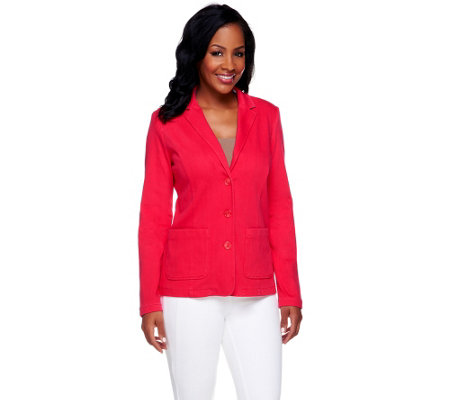 Isaac Mizrahi Live! Notch Collar Knit Denim Blazer