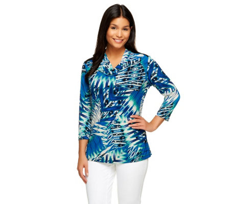 Susan Graver Printed Liquid Knit 3/4 Sleeve Drape Neck Top
