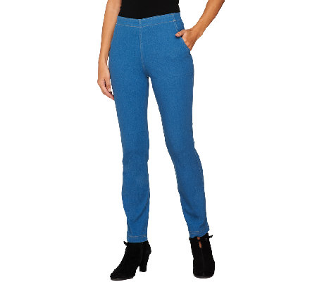 Denim & Co. Petite Slim Straight Leg Pull-On Jeans