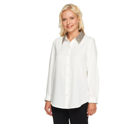 Susan Graver Woven Button Front Top w/Jacquard Point Collar