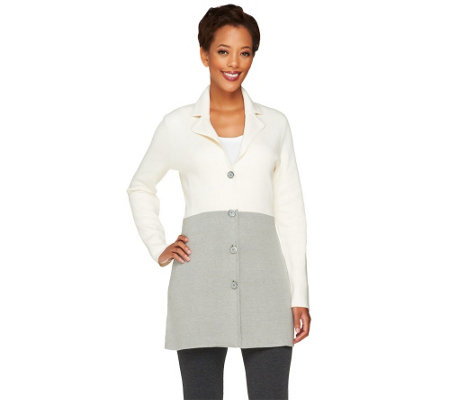 Liz Claiborne New York Color-Block Sweater Coat