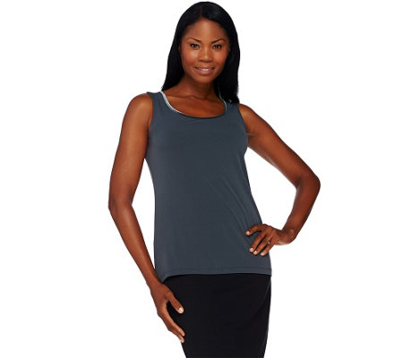 Susan Graver Liquid Knit Scoop Neck Tank with Velvet Trim