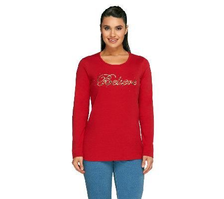 Quacker Factory Holiday Believe Round Neck Long Sleeve T-shirt