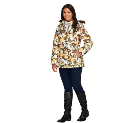 Dennis Basso Printed Puffer Jacket with Hood