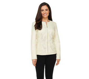 Isaac Mizrahi Live! Eyelet Perforated Lamb Leather Jacket - A262065