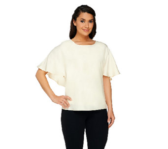 GK George Kotsiopoulos Woven Top with Faux Cape Back - A263365