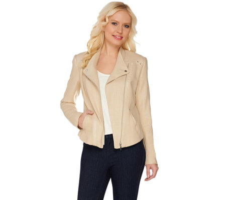 Mark of Style by Mark Zunino Linen Jacket with Faux Leather Detail