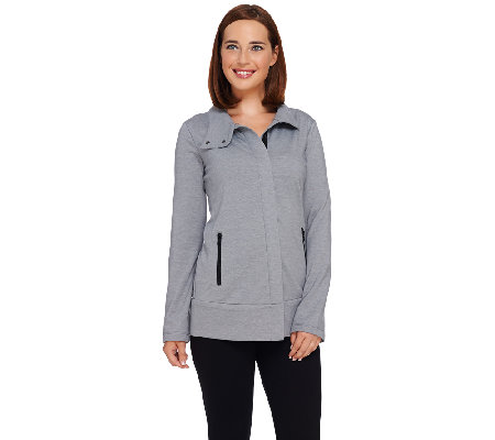 LOGO Lounge by Lori Goldstein Brushed Knit Jacket with Zip Front Pockets