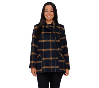 Liz Claiborne New York Asymmetrical Zip Front Plaid Jacket - A267265