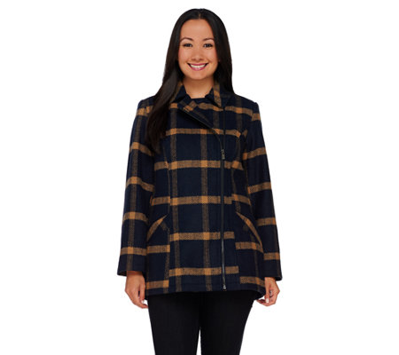 Liz Claiborne New York Asymmetrical Zip Front Plaid Jacket