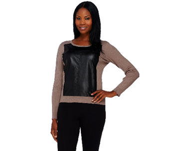 Styled by Joe Zee Sweater with Faux Leather Panel - A268565
