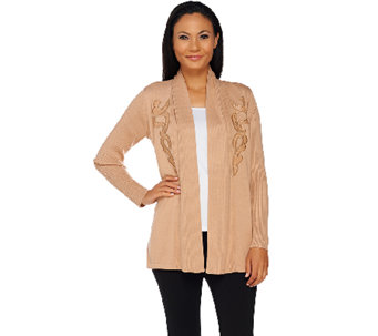 Bob Mackie's Open Front Cardigan with Faux Leather Applique - A269565