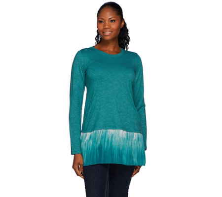 LOGO Lounge by Lori Goldstein French Terry Top with Ombre Chiffon Hem