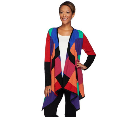 Attitudes by Renee Drape Front Color-Block Cardigan